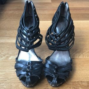 """Calvin Klein Kailey black leather """"cage"""" heels 8.5"""